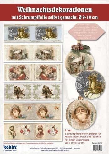 Schrumpfbanderolen Weihnachten 6 Motive O 10cm 85202